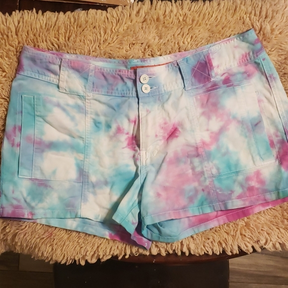 Mossimo Supply Co. Pants - Tiedye trouser shorts pink and blue size 11